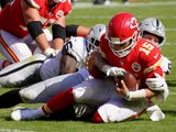 Kansas City Chiefs quarterback Patrick Mahomes is sacked by Las Vegas Raiders' Maxx Crosby on October 11, 2020