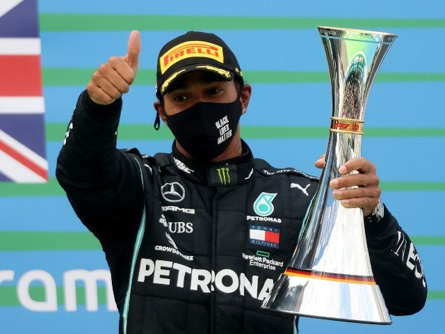 Lewis Hamilton celebrates winning the Eifel Grand Prix on October 11, 2020