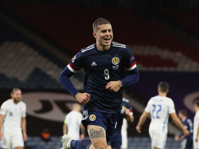 Lyndon Dykes celebrates scoring for Scotland against Slovakia in the Nations League on October 11, 2020