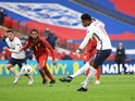 Marcus Rashford scores a penalty for England against Belgium in the Nations League on October 11, 2020