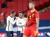 Mason Mount celebrates scoring for England against Belgium in the Nations League on October 11, 2020