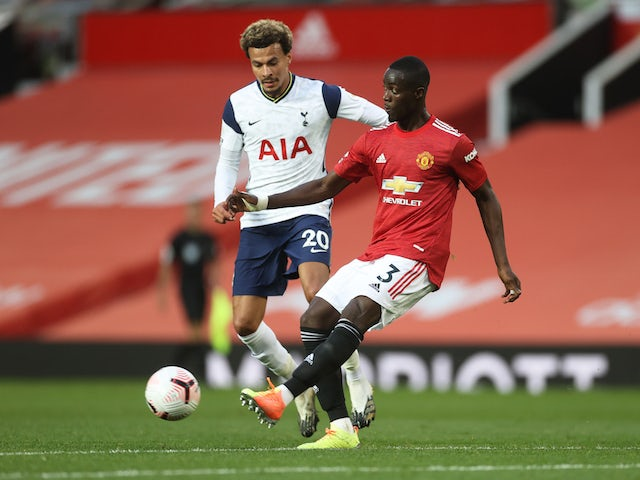 Manchester United's Eric Bailly in action with Tottenham Hotspur's Dele Alli in the Premier League on October 4, 2020