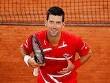 Novak Djokovic celebrates winning a match at the French Open on October 5, 2020