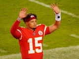 Kansas City Chiefs quarterback Patrick Mahomes in action against New England Patriots on October 6, 2020