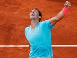 Rafael Nadal reacts after beating Diego Schwartzman to reach the French Open final on October 9, 2020