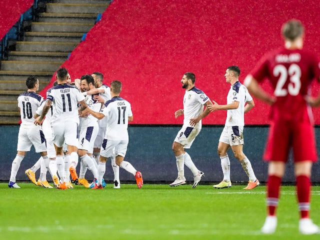 Serbia's Sergej Milinkovic-Savic celebrates with teammates after scoring against Norway in the European playoff semi-finals on October 8, 2020