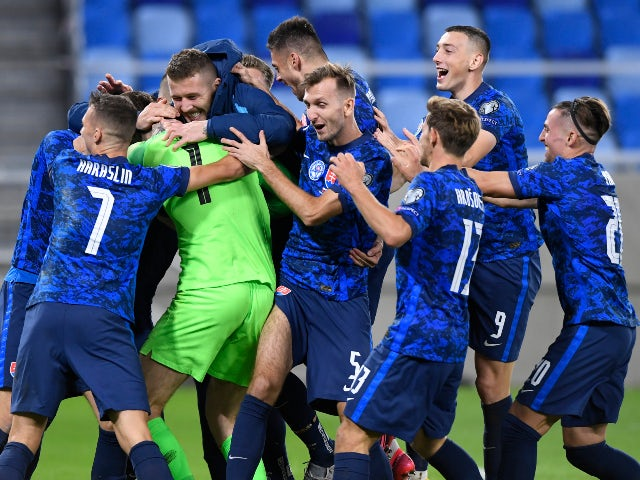 Slovakia celebrate beating the Republic of Ireland on penalties in their Euro 2020 qualifying playoff semi-final on October 8, 2020