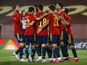Spain players celebrate Mikel Oyarzabal's goal against Switzerland in the UEFA Nations League on October 10, 2020