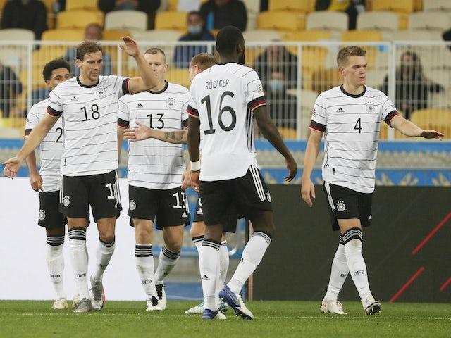 Germany's Leon Goretzka celebrates scoring against Ukraine in the UEFA Nations League on October 10, 2020