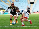 Bristol Bears' Harry Randall scores a try against Wasps in the Premiership semi-final on October 10, 2020