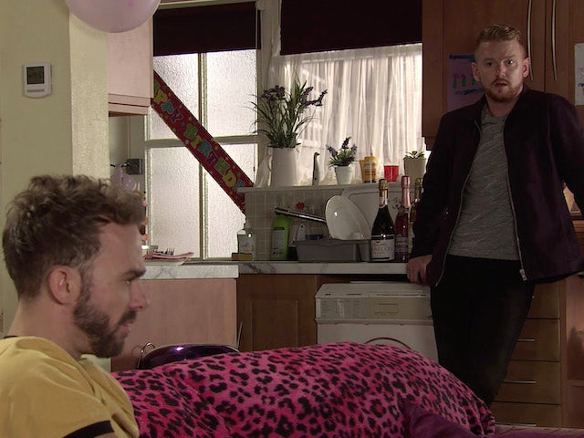 David and Gary on Coronation Street's first episode on October 14, 2020