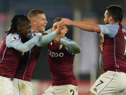 Aston Villa's Ross Barkley celebrates scoring against Leicester City in the Premier League on October 18, 2020