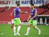 Bristol City's Jack Hunt celebrates scoring against Barnsley in the Championship on October 17, 2020
