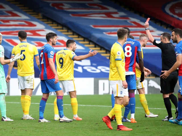 Result: Lewis Dunk sees red as Brighton snatch late draw at Crystal Palace