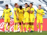 Cadiz players celebrate Anthony Lozano's goal against Real Madrid on October 17, 2020