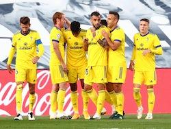 Cadiz players celebrate Anthony Lozano's goal against Real Madrid on October 17, 2020