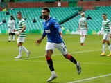 Rangers defender Connor Goldson celebrates scoring against Celtic in the Scottish Premiership on October 17, 2020