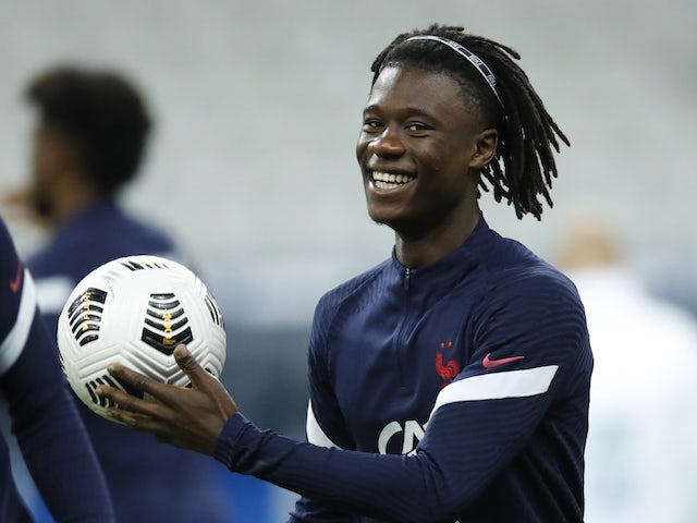 Rennes midfielder Eduardo Camavinga pictured on France duty on October 11, 2020