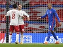 Denmark's Christian Eriksen celebrates scoring against England in the UEFA Nations League on October 14, 2020
