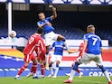 Everton's Dominic Calvert-Lewin scoring against Liverpool in the Premier League on October 17, 2020