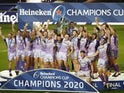 Exeter Chiefs players celebrate winning the European Champions Cup on October 17, 2020