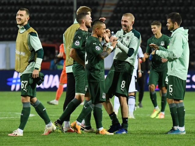 FC Krasnodar celebrate after beating PAOK in the Champions League playoff round on September 30, 2020