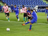 Getafe's Jaime Mata scores against Barcelona in La Liga on October 17, 2020