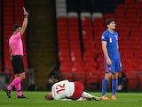 England's Harry Maguire is shown a red card against Denmark in the UEFA Nations League on October 14, 2020