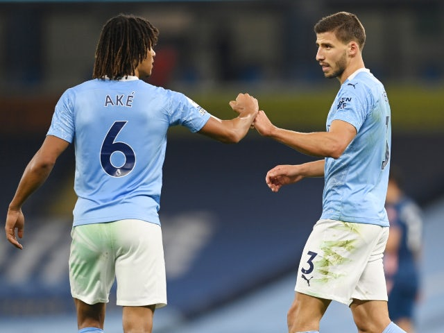 Manchester City defenders Nathan Ake and Ruben Dias pictured against Arsenal on October 17, 2020