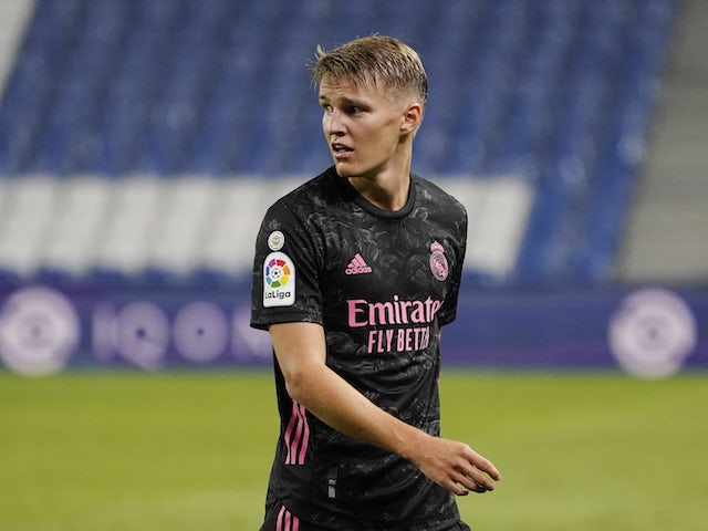 Real Madrid midfielder Martin Odegaard pictured in action against Real Sociedad in La Liga on September 20, 2020