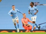 Manchester City's Raheem Sterling celebrates scoring against Arsenal in the Premier League on October 17, 2020
