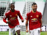 Manchester United's Bruno Fernandes celebrates scoring against Newcastle United in the Premier League on October 17, 2020