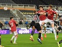 Manchester United's Harry Maguire scores against Newcastle United in the Premier League on October 17, 2020