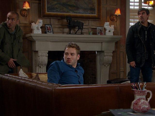 Cain, Sam and Jamie on Emmerdale on November 4, 2020