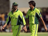 Shoaib Akhtar and Mohammad Asif pictured for Pakistan in 2006