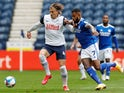 Preston North End's Brad Potts in action with Cardiff City's Leandro Bacuna in the Championship on October 18, 2020