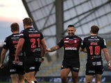 A general shot of Salford Red Devils players celebrating in October 2020
