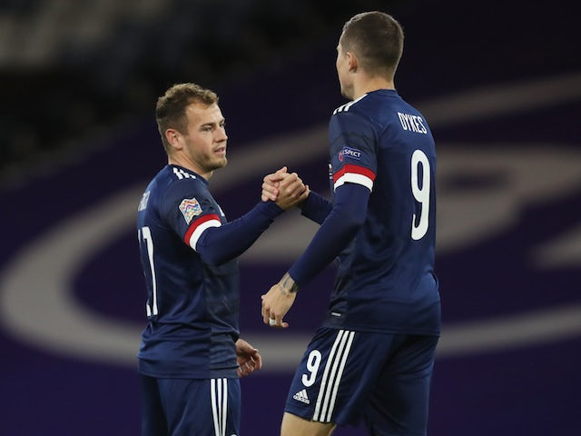 Scotland's Ryan Fraser celebrates scoring against the Czech Republic in the UEFA Nations League on October 14, 2020