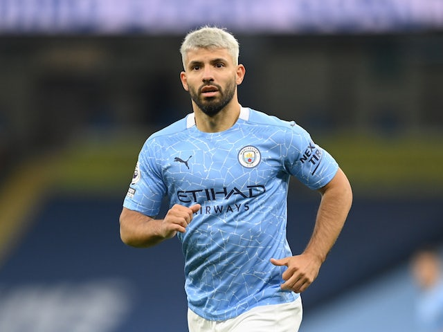 Manchester City striker Sergio Aguero in action on October 17, 2020