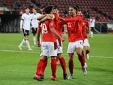 Switzerland's Mario Gavranovic celebrates scoring against Germany with teammates in the UEFA Nations League on October 13, 2020