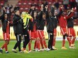 Union Berlin players celebrate beating Mainz in the Bundesliga in October 2020