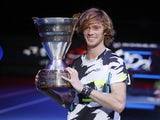Andrey Rublev celebrates winning in St Petersburg on October 18, 2020