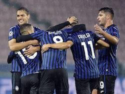 Atalanta BC players celebrate scoring against FC Midtjylland on October 21, 2020