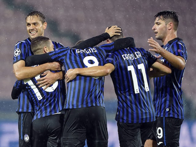 Atalanta BC players celebrate scoring against FC Midtjylland on October 21, 2020