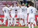 Real Madrid players celebrate scoring against Barcelona in El Clasico on October 24, 2020