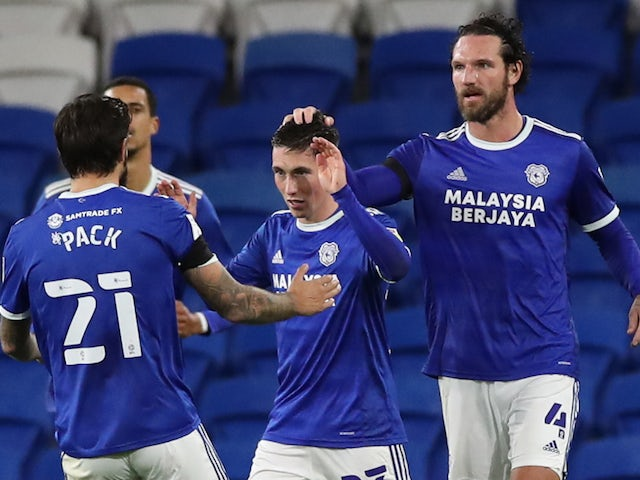Cardiff City's Harry Wilson celebrates scoring against Bournemouth in the Championship on October 21, 2020