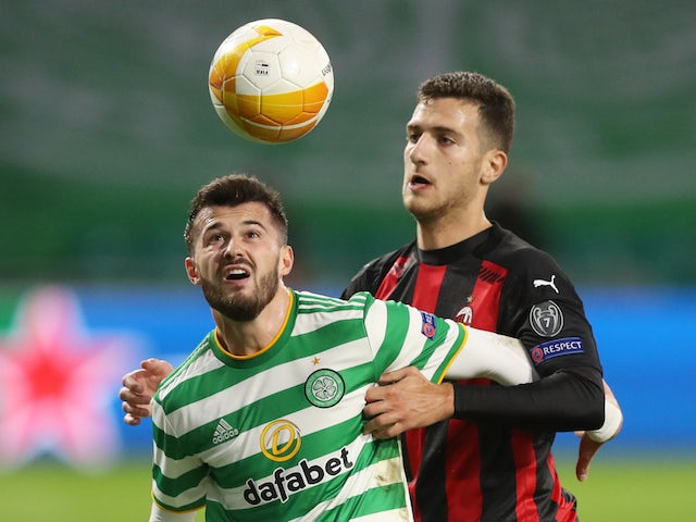 AC Milan's Diogo Dalot in action with Celtic's Albian Ajeti in the Europa League on October 22, 2020