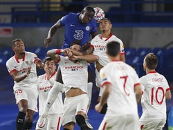 Chelsea's Kurt Zouma competes with Sevilla players during their Champions League match on October 20, 2020