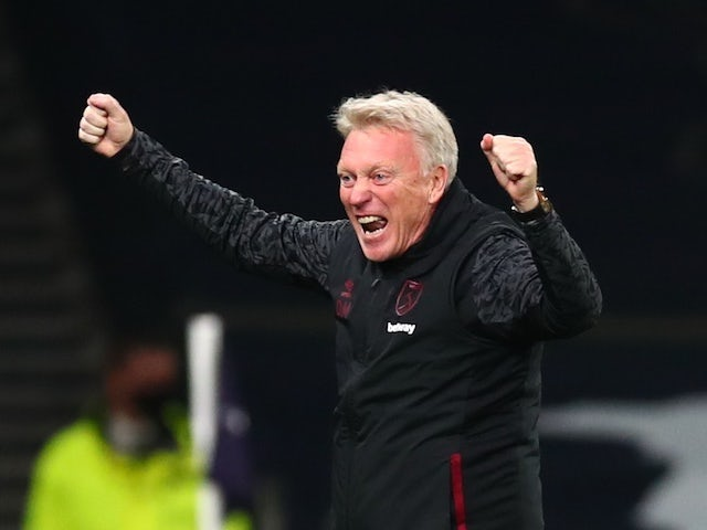 West Ham United manager David Moyes celebrates in October 2020