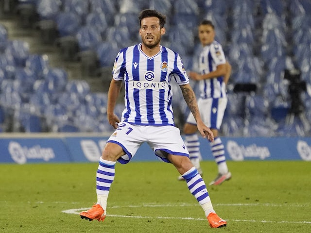 Real Sociedad midfielder David Silva in action against Real Madrid in La Liga on September 20, 2020